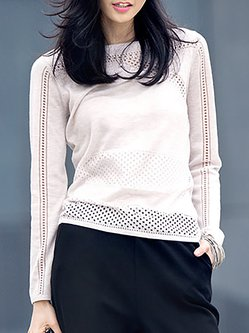Crew Neck Casual Pierced Long Sleeve Sweater