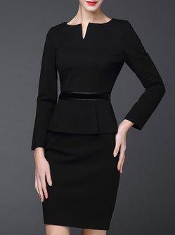 Black  Long Sleeve Sheath Crew Neck Midi Dress