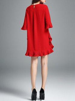 Red Casual Crew Neck Flounce Mini Dress