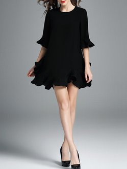 Black Half Sleeve Plain Mini Dress