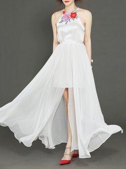 White Silk Embroidery Sleeveless Evening Dress