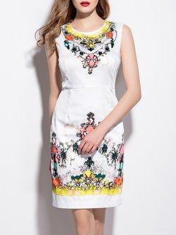 Sleeveless Printed Polyester Sheath Vintage Mini Dress