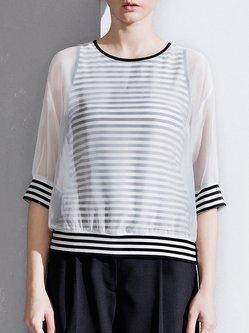 White Polyester Stripes 3/4 Sleeve T-Shirt