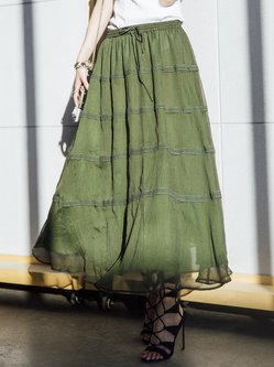 Green A-line Casual Polyester Plain Midi Skirt