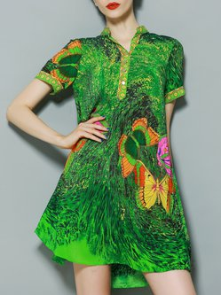 Printed Shorts Sleeve  Casual Boho Dress