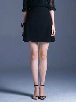 Black Polyester A-line Simple Mini Skirt
