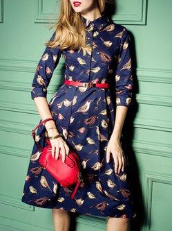 Bird Printed Cotton Midi Dress with Belt