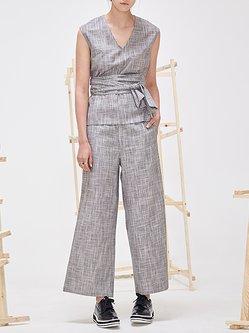 Cotton Sleeveless Plain Simple V Neck Jumpsuit