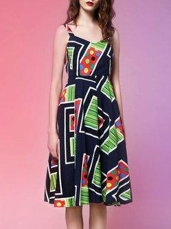 Multicolor A-line Cotton-blend Sweet Midi Dress