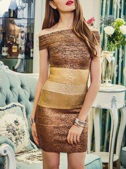 Off-shoulder Evening Short Sleeve Evening Dress