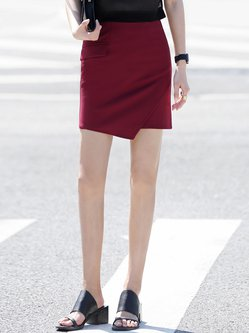 Burgundy Asymmetric Simple Mini Skirt