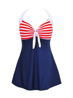 Red Halter Padded Color-block One-Piece