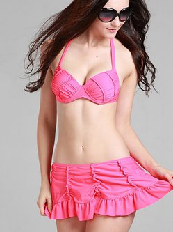 Fuchsia Ruffles Halter High Rise Bikini