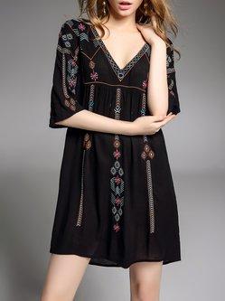 H-line Tribal Half Sleeve Cotton Casual Mini Dress
