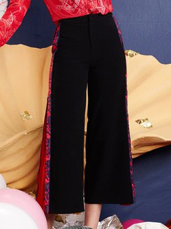 Black A-line Vintage Floral Wide Leg Pants