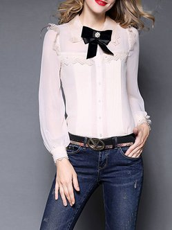 Bow V Neck Long Sleeve Sweet Blouse