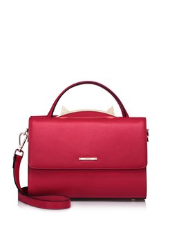 Casual Cowhide Leather Fold-over Flat Top Small Satchel