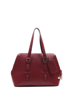 Wine Red Medium Cowhide Leather Casual Tote