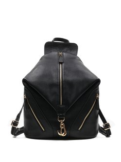 Black Casual Cowhide Leather Zipper Backpack