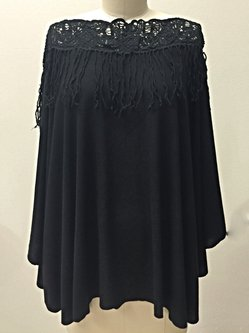 Black Plain Casual Crocheted Poncho