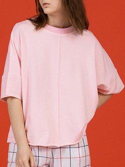 Pink Plain Simple Symmetric T-Shirt