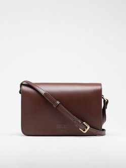 Brown Fold-over Flat Top Cowhide Leather Retro Crossbody
