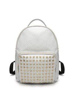 Silver Medium PU Casual Backpack