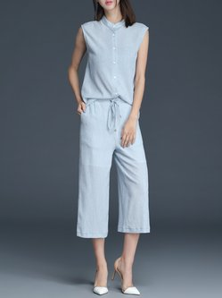 Gray Stand Collar Sleeveless Two Piece Buttoned Jumpsuit