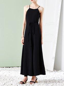 Black Elegant Spaghetti Plain Jumpsuit