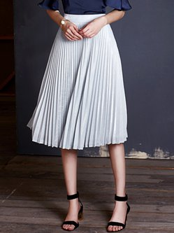 Silver Pleated Elegant Midi Skirt