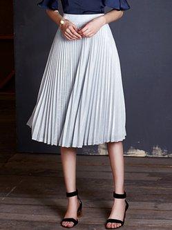 Silver Pleated Elegant Midi Skirt