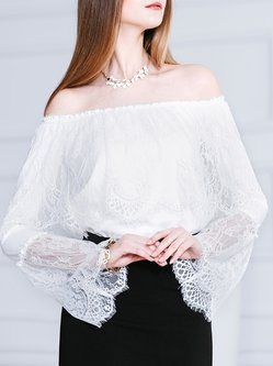 White Long Sleeve Bateau/boat Neck Blouse