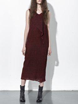Crimson Statement Ribbed Midi Dress