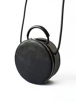 Black Cowhide Leather Casual Mini Crossbody