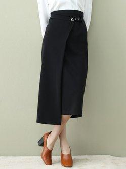 Black Polyester Simple H-line Midi Skirt