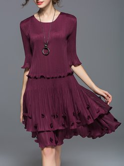 Wine Red A-line Outdoor Appliqued Midi Dress