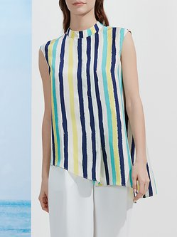 Multicolor Casual Stand Collar Stripes Silk Tanks And Cami
