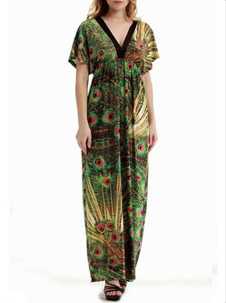 Printed Short Sleeve A-line Resort Maxi Dress