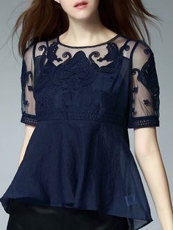 Navy Blue Short Sleeve High Low Blouse
