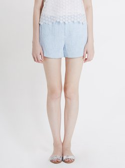 Light Blue Polyester Simple Ribbed Shorts