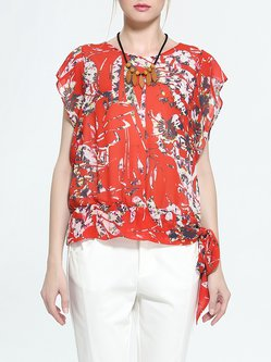 Floral Batwing Casual Crew Neck Polyester Blouse