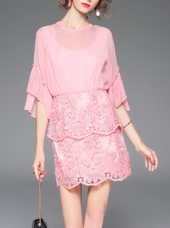 Pink Lace Silk Crew Neck 3/4 Sleeve Mini Dress