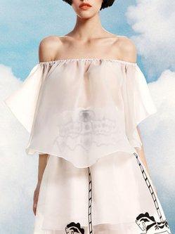 White Off-shoulder Plain Sexy Off Shoulder Cropped Top