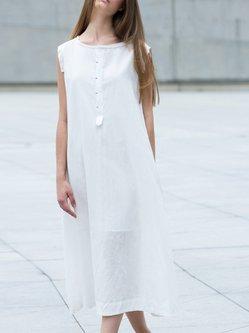 Short Sleeve Cotton Linen Casual Summer Midi Dress