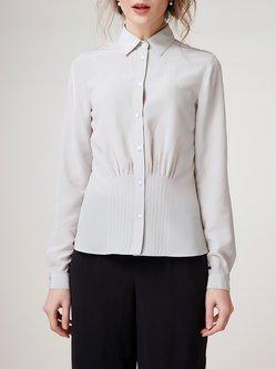 Shirt Collar Work Silk Simple Long Sleeve Blouse