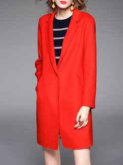 Long Sleeve Plain Pockets Simple Coat