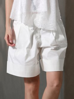 White Folds Cotton Simple Summer Casual Shorts