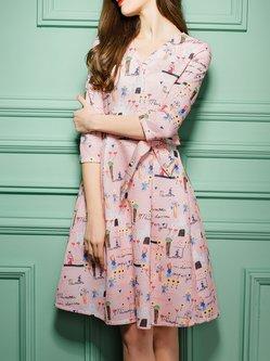 Pink 3/4 Sleeve Cartoon Pattern Printed Surplice Neck Midi Dress