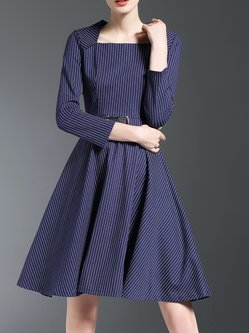 Blue Stripes Elegant Midi Dress With Belt