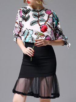Multicolor Outdoor Crew Neck Floral Blouse